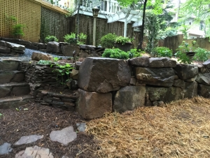 Areas on your property that don't get a lot of sunlight and are often damp are prime areas for stone and shade gardens.  Ferns, Hostas, and Azaleas line boulders, giving this area a beautiful natural woodland garden feel.
