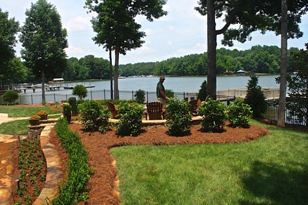 Eco-Friendly Tree Planting Company Near Waxhaw NC - Wilson's Natural Landscaping - This_Lake_Front_Courtyard_is_filled_with_various_plantings_from_formal_to_native